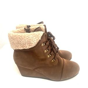 CITYCLASSIFIED brown fur trim wedge ankle boot-11